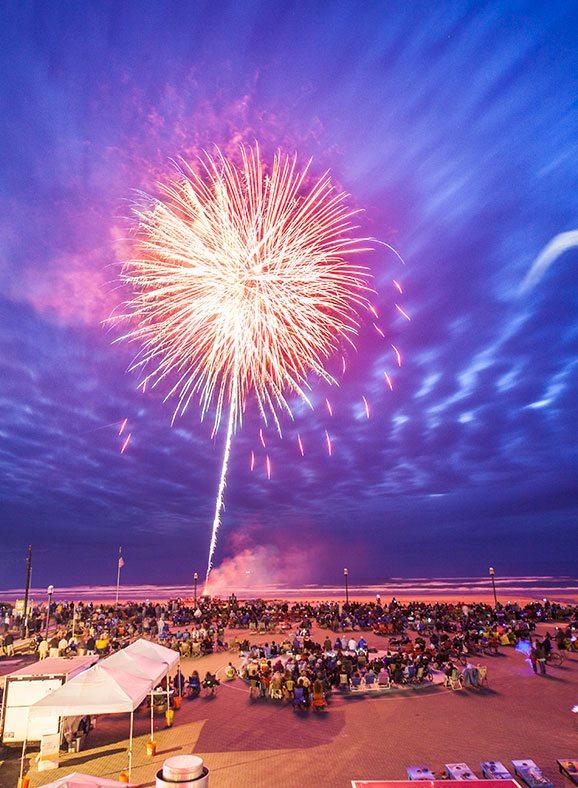 Fireworks display at Rockaway Beach, July 4