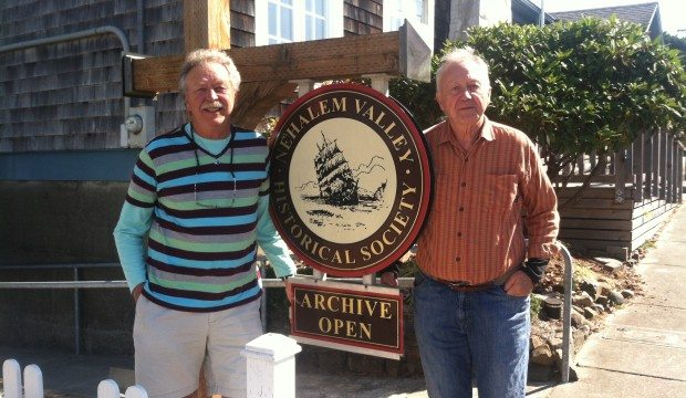 Tom Mock (left) is President of Nehalem Valley Historical Society and Mark Beach (right) is a longtime volunteer.
