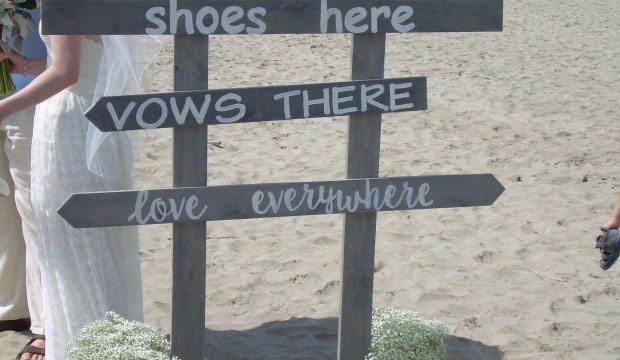 Beach wedding sign