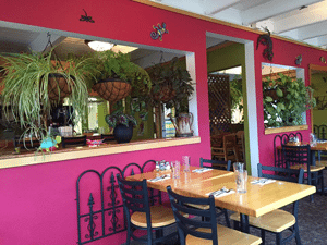 Hot pink building with seating and house plants